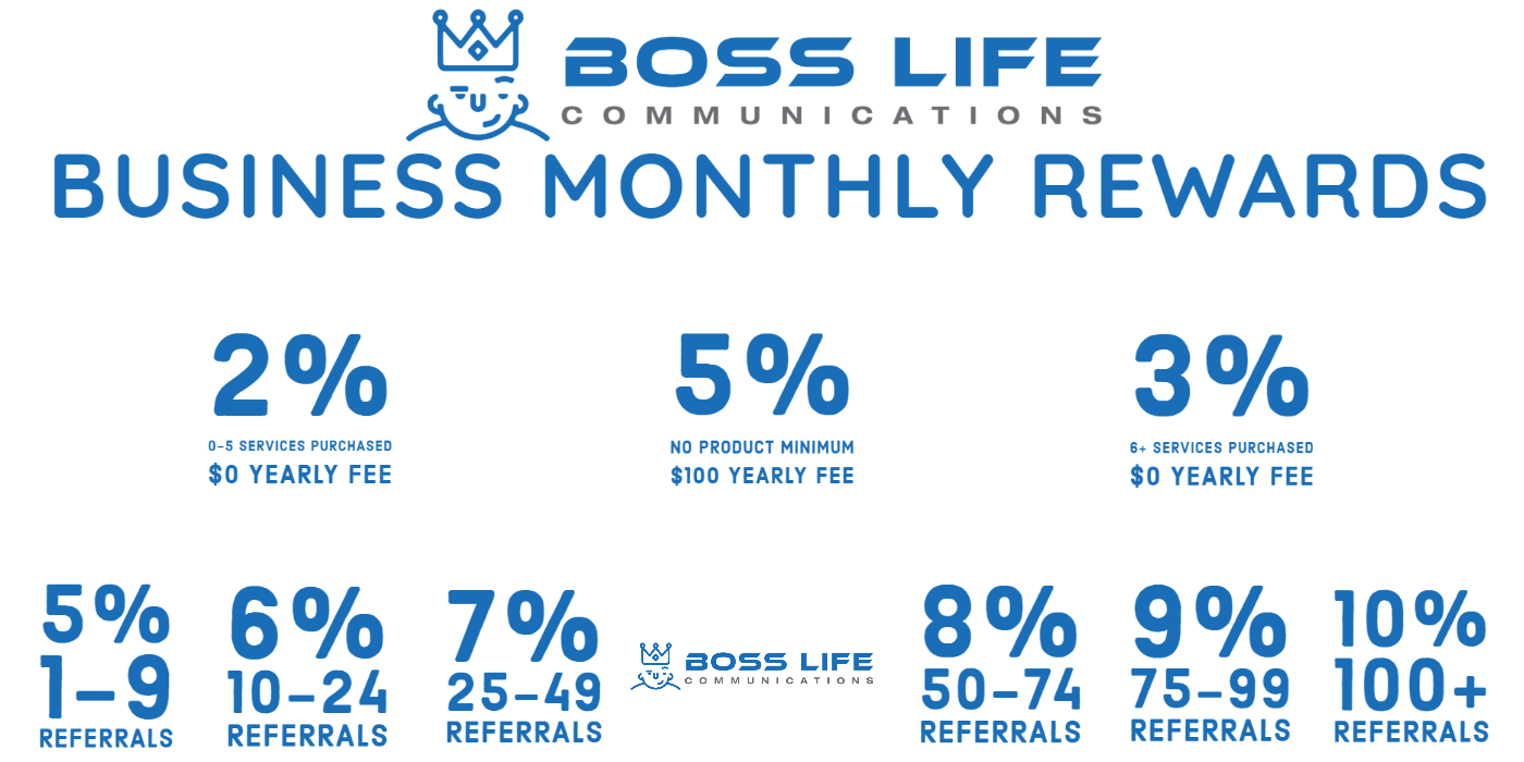 Boss Life Communications - Business Customer and Affiliate Rewards Rate